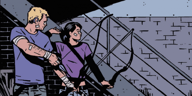 超級英雄接班人?2005 年漫畫中鷹眼訓練凱特成為新一代鷹眼的劇情廣受讀者喜愛。