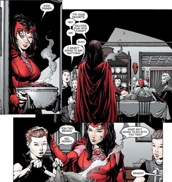 漫威漫畫中,與幻視結婚的緋紅女巫使用混沌魔法修改現實,讓他們擁有兩位孩子。
