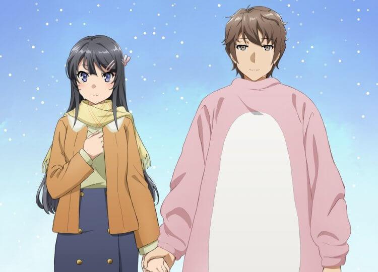 劇場版《青春豬頭少年不會夢到懷夢美少女》動畫中的櫻島麻衣(瀬戸麻沙美 聲演)與梓川咲太(石川界人 聲演)。