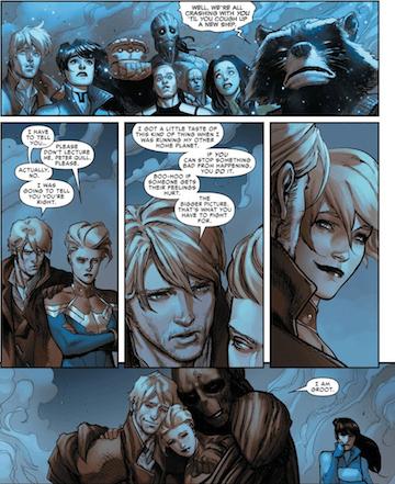 漫威系列漫畫中,對於星際異攻隊與驚奇隊長間的情誼有顯著描繪。