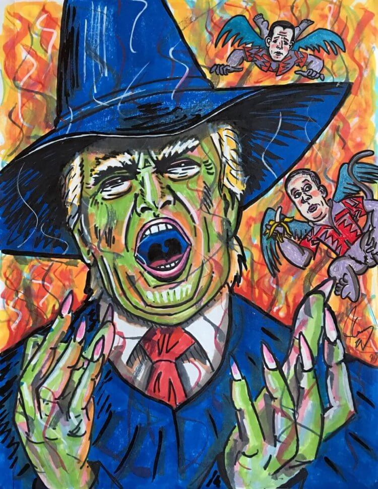 金凱瑞藉由繪畫嘲諷美國總統川普。