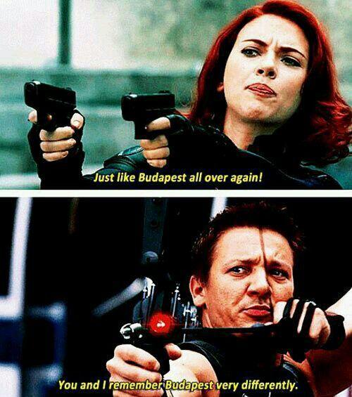 2012 年《復仇者聯盟》電影中黑寡婦與鷹眼的「布達佩斯」往事。