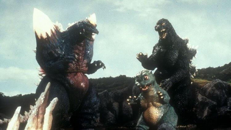 1994 年《哥吉拉 vs 太空哥吉拉》中的太空哥吉拉、小哥吉拉以及哥老大本人。