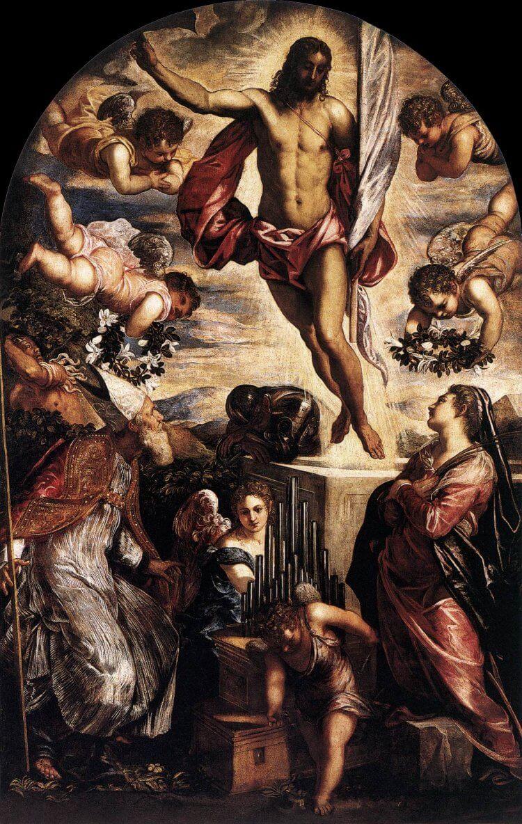 義大利文藝復興畫家丁托列托的耶穌復活畫作。