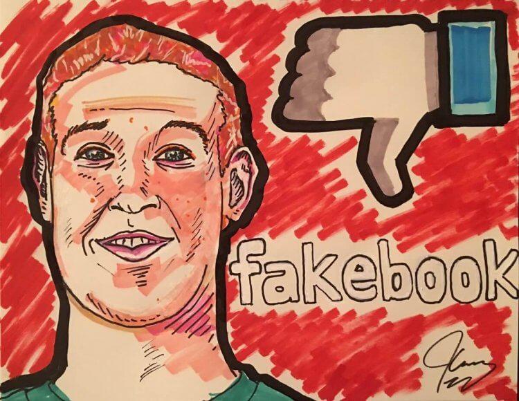 金凱瑞也藉由繪畫諷刺臉書執行長馬克祖克柏 (Mark Zuckerberg)。