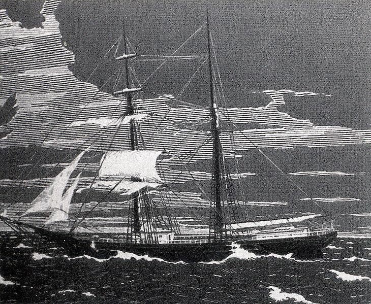 1872 年被發現的鬼船瑪麗賽勒斯特號,引發後人對於消失船員的諸多猜測,並將改編成電影《鬼船瑪麗號》。