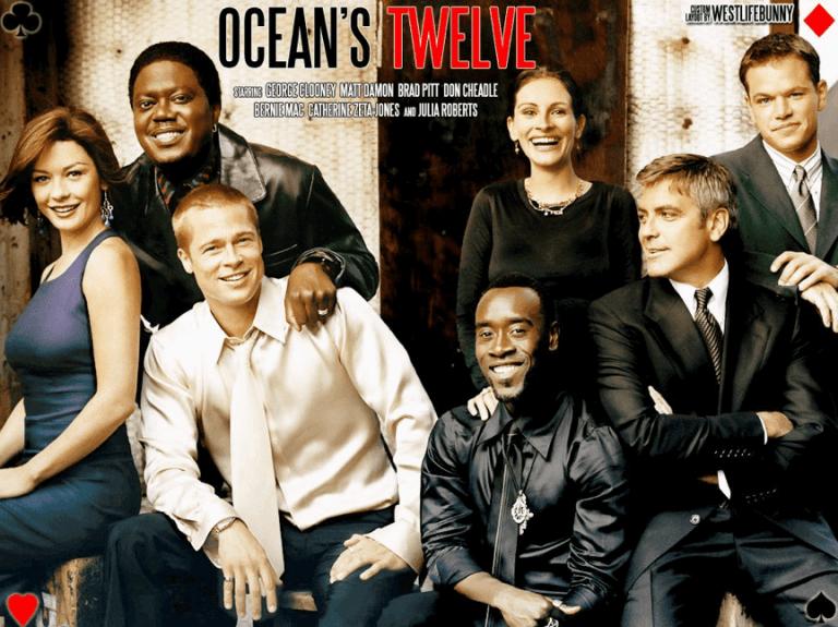 喬治克隆尼、布萊德彼特、麥特戴蒙、茱莉亞羅勃茲䒭眾星雲集的 2004 年電影《瞞天過海 2:長驅直入》。