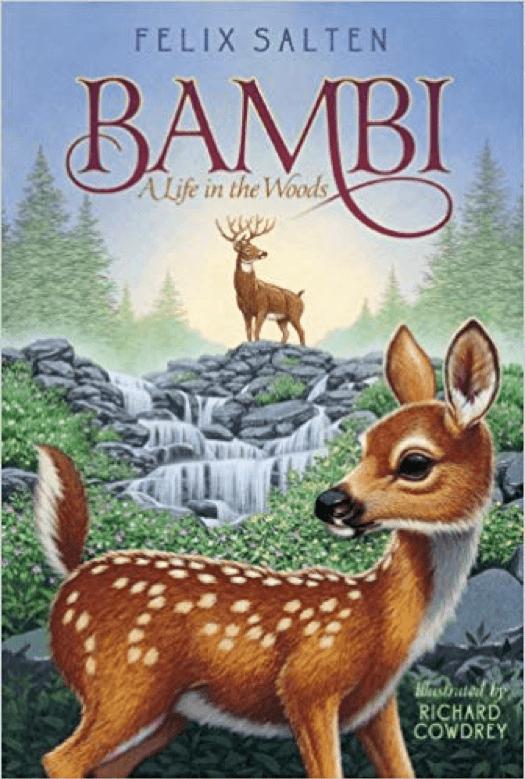 改編自同名小說的迪士尼動畫電影《小鹿斑比》,圖為原作小說封面。