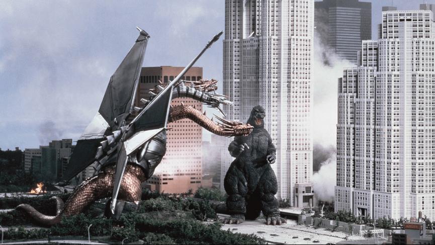 怪獸特攝片《 六度空間大水怪 》裡,很受歡迎的 王者基多拉 (左)。
