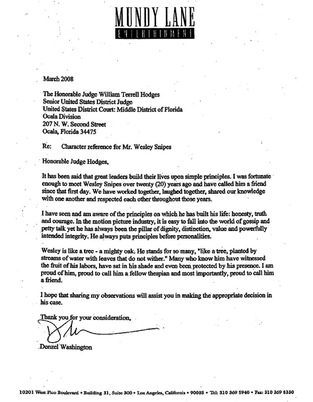 丹佐華盛頓 致信法官以表他對衛斯理史奈普的支持