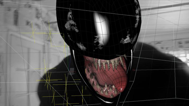 低成本的《猛毒:報導中的真相》只能以緊身服搭配動畫效果呈現「猛毒」樣貌。