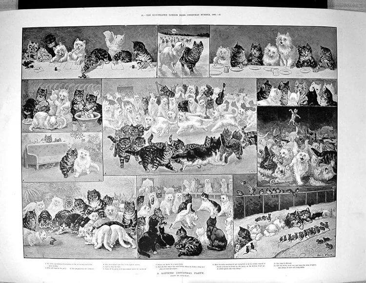 1886 年由路易斯偉恩繪製的《小貓的聖誕派對》。