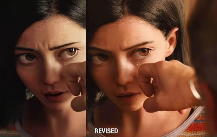 《艾莉塔:戰鬥天使》艾莉塔的眼睛在「WETA工作室」修改後變得比較小且自然。