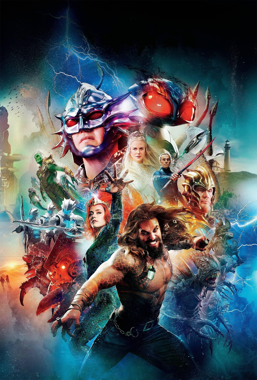 《水行俠》(Aquaman) 電影海報,威廉達佛、妮可基嫚等影帝影后加持,演出陣容星光熠熠。