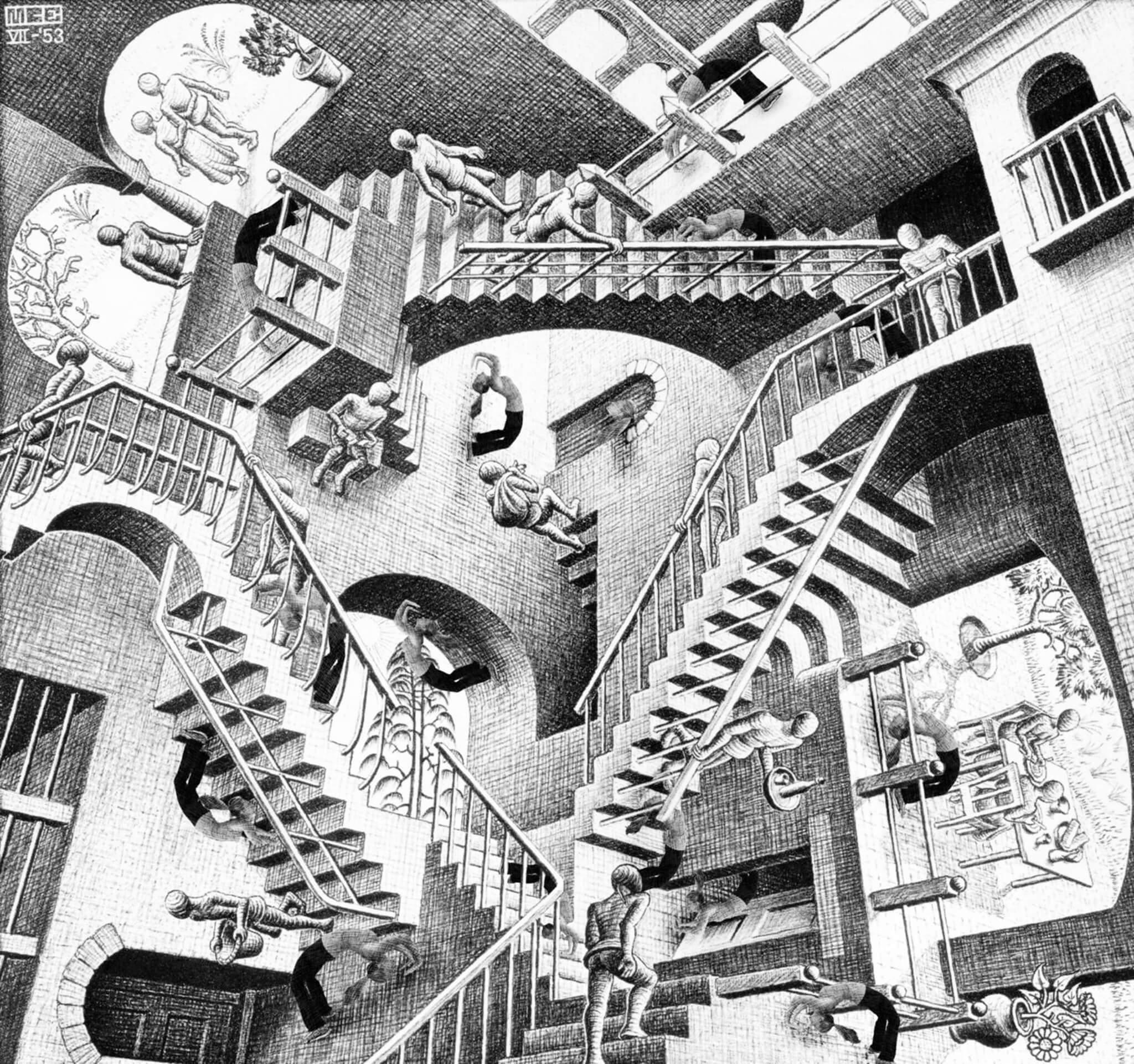 曾推辭 史丹利庫柏力克 合作的芬蘭版畫家 艾雪 作品:相對性 (Relativity)。