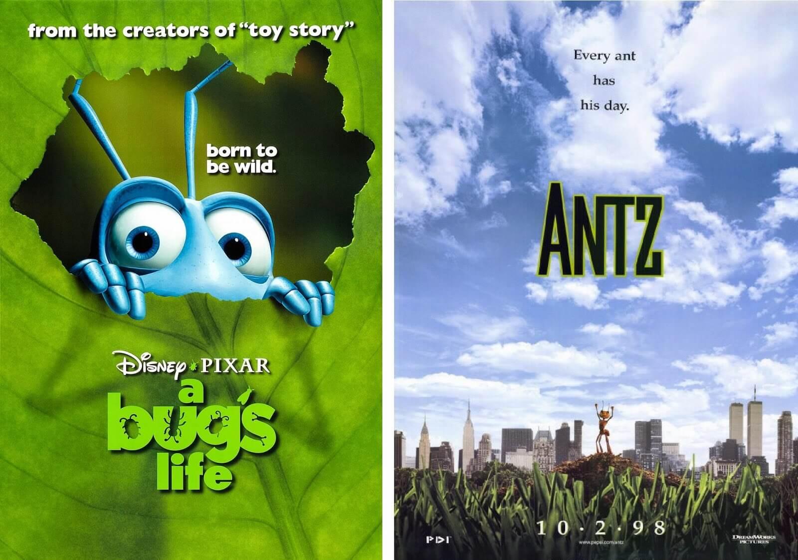 同樣遭遇撞哏撞檔期的動畫電影 夢工廠 的《 小蟻雄兵 》與 皮克斯 的《 蟲蟲危機 》。