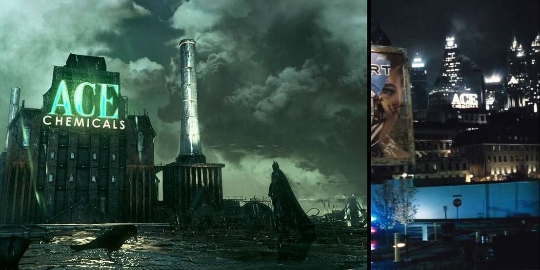DC 故事中高譚市「著名企業」艾斯化工廠,它的 LOGO 也出現在《沙贊!》片中。