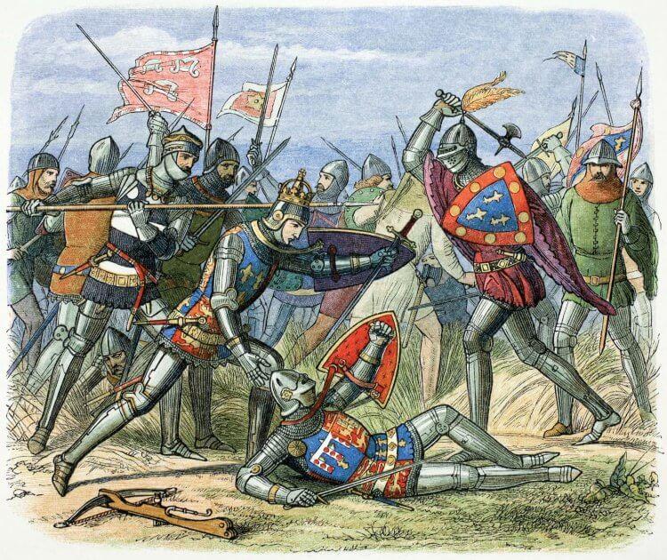 英王亨利五世 (Henry V) 帶著英軍在阿金庫爾之戰打敗法軍。