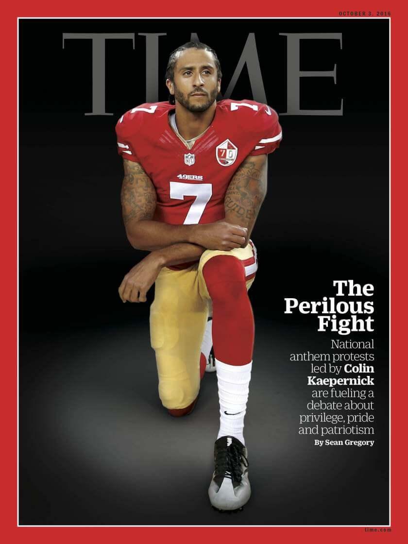 NFL 四分衛「柯林卡佩尼克」發起單膝下跪。
