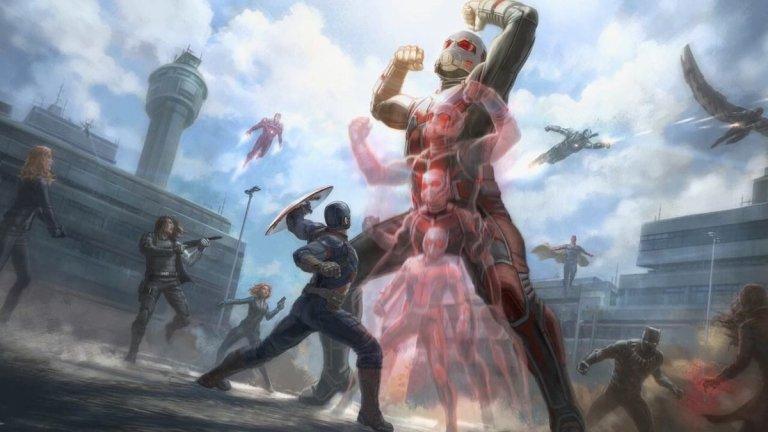 蟻人初次展現巨大化能力並非在自己的獨立電影中,而是《美國隊長:英雄內戰》。