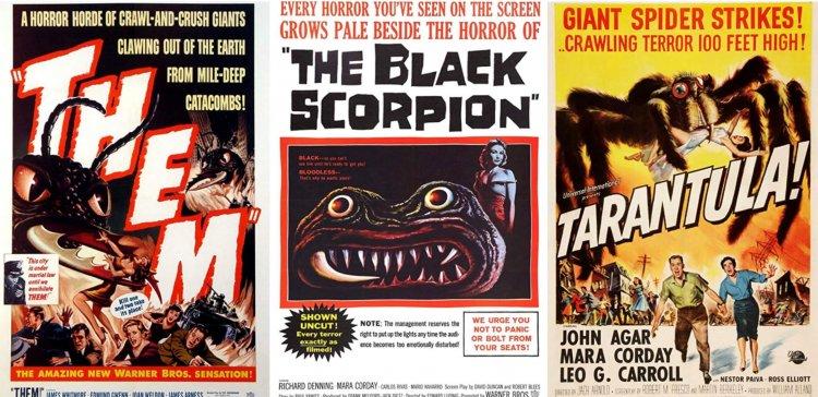 1950 年代的恐怖巨蟲電影:《牠們》、《黑蠍》《大蜘蛛》。