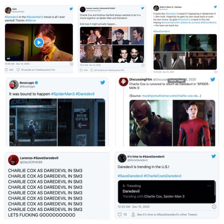 粉絲在推特上敲碗,期待著夜魔俠在全新《蜘蛛人 3》電影登場。