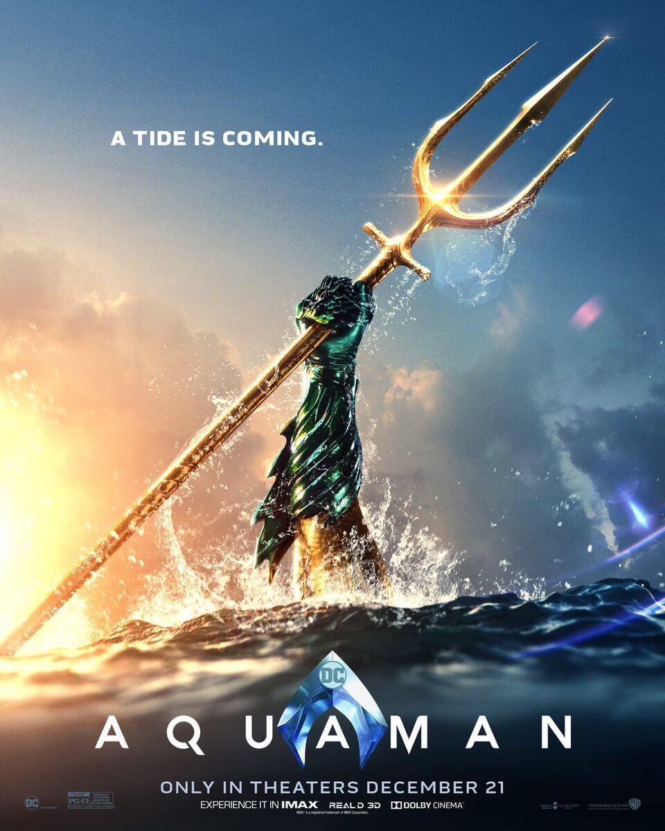 《 水行俠 》 最新電影海報黃手臂+綠手套造型 致敬原著 意味濃厚!