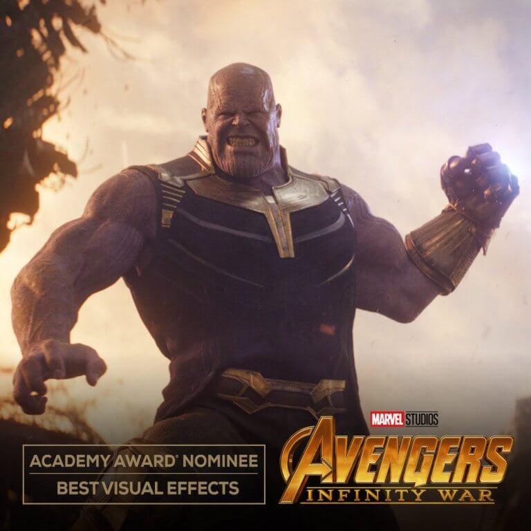 《復仇者聯盟 3:無限之戰》入圍 2019 年第 91 屆奧斯卡「最佳視覺效果」獎。