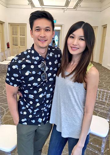 《 瘋狂亞洲富豪 》演員 陳嘉瑪 (右) 岑勇康 (左)。