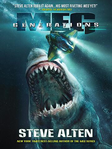 巨齒鯊系列小說的第六集 :《 新世代 》封面。