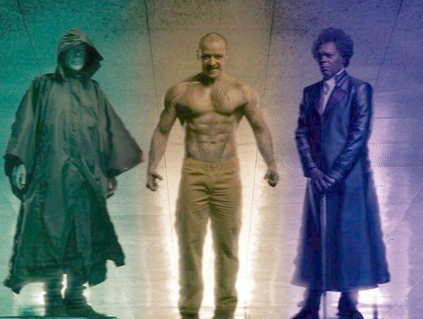 《異裂》中擁有超凡能力的「大衛」布魯斯威利、「凱文」詹姆斯麥艾維、「玻璃先生」山繆傑克森。