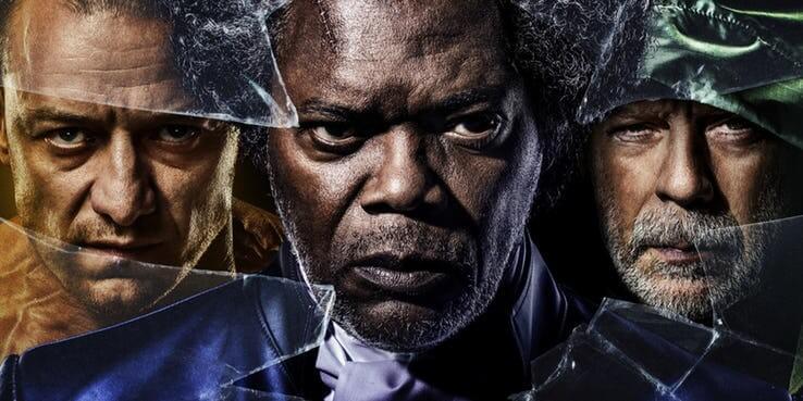 《異裂》中的三位超凡英雄:「多重人格」凱文、「超凡智力」玻璃先生、以及「超強體能」無堅不摧的大衛。