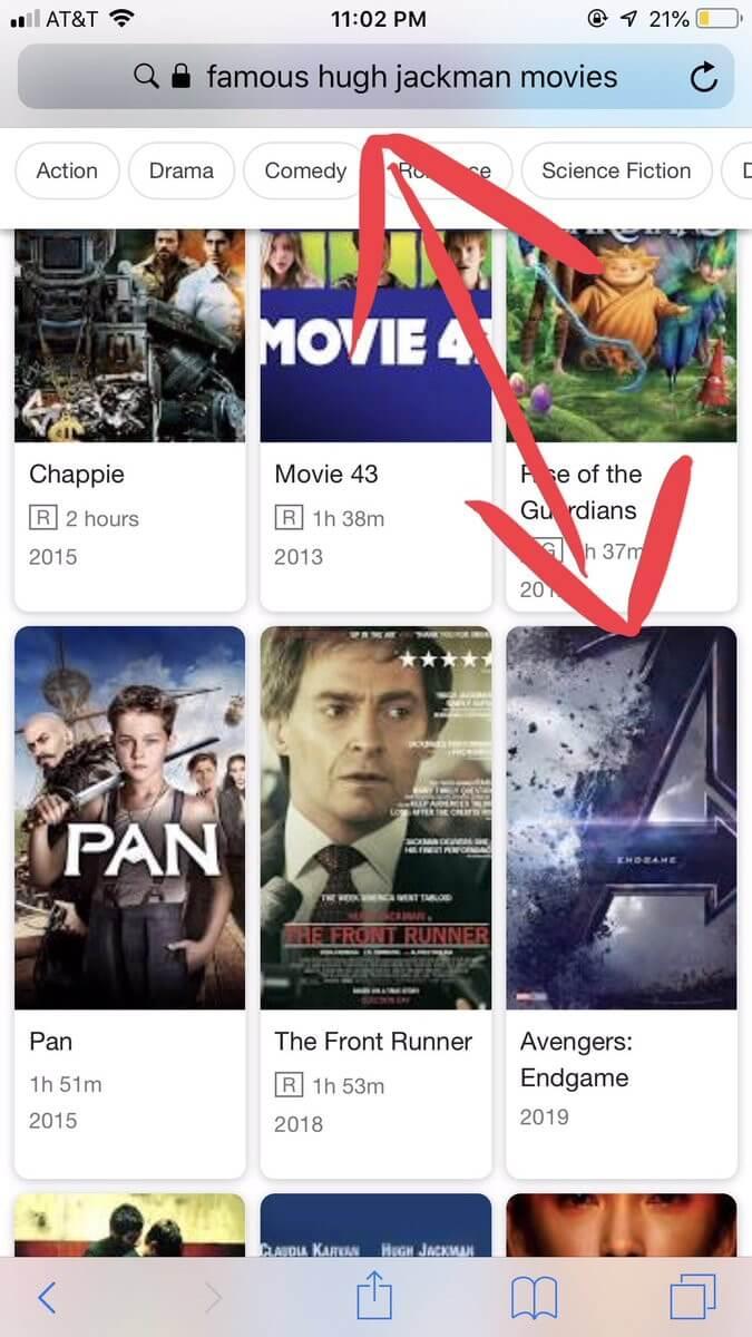 Google 顯示休傑克曼的電影