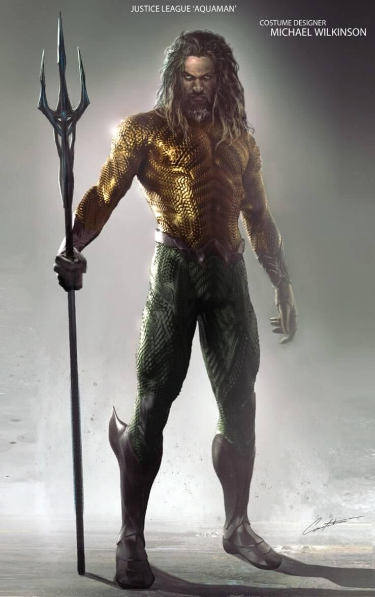 近日外媒曝光的《正義聯盟》水行俠美術設計圖,造型與該片中的樣貌很不一樣,但卻也更接近《水行俠》個人電影中的形象。