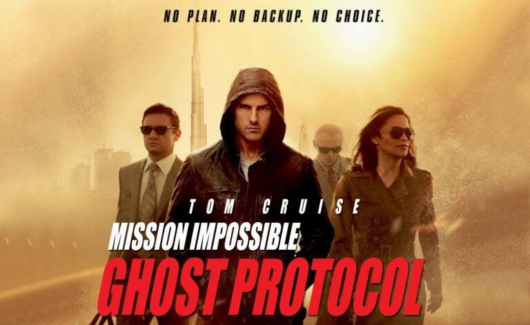 湯姆克魯斯、傑瑞米雷納、寶娜柏頓等人領銜主演的 2011 年電影《不可能的任務 4:鬼影行動》。