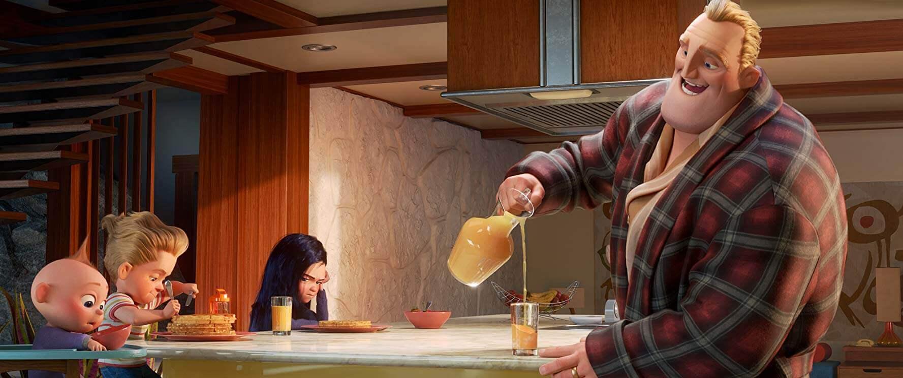 《 超人特攻隊 2 》當中,深入探討 巴鮑伯 / 超能先生 與家人們在面對和平生活與英雄志向的困境與突破。