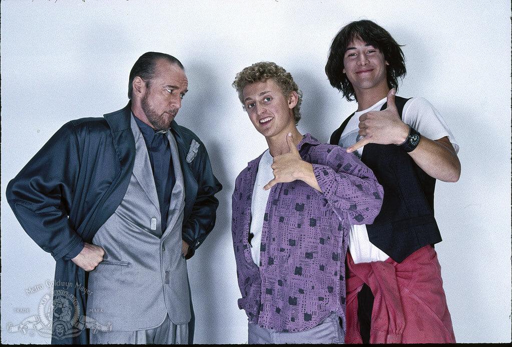 1989 年《阿比和阿弟的冒險》,左起:喬治卡林、阿歷克斯以及基努李維。