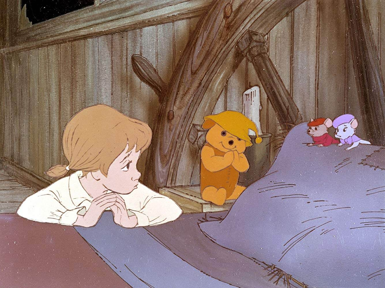 1977 年迪士尼動畫電影《救難小英雄》中,鼠鼠們執行救援任務,找出被綁架的少女潘妮的故事。