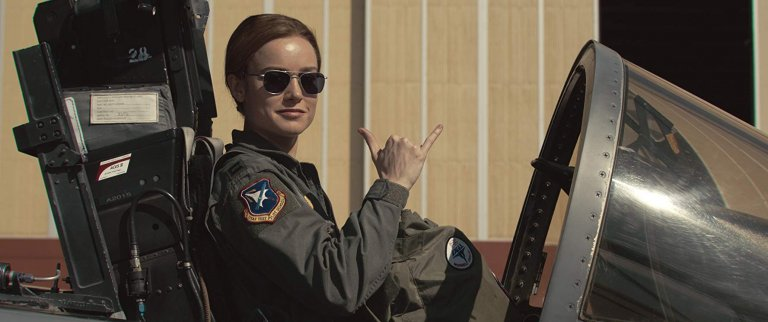 飾演「驚奇隊長」卡蘿丹佛斯一角的影后:布麗拉森在片中的造型之一。