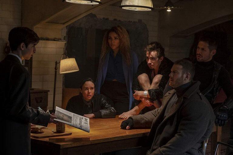 Netflix 已可供線上看的超能影集《雨傘學院》劇照。