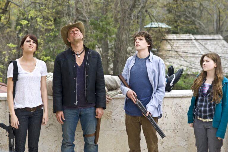由伍迪哈里遜、傑西伊森伯格、艾瑪史東、艾碧貝絲琳共演的殭屍喜劇電影《屍樂園》。