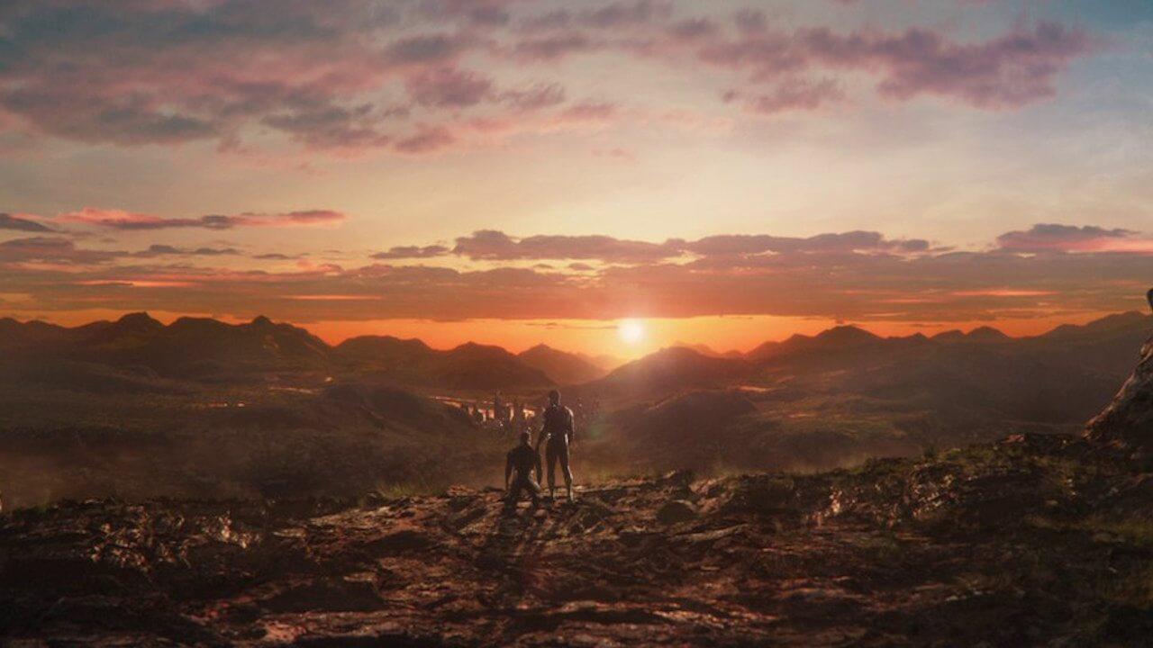 漫威超級英雄電影《黑豹》中,帝查拉與齊爾蒙格一同看著瓦干達夕陽的經典場景。