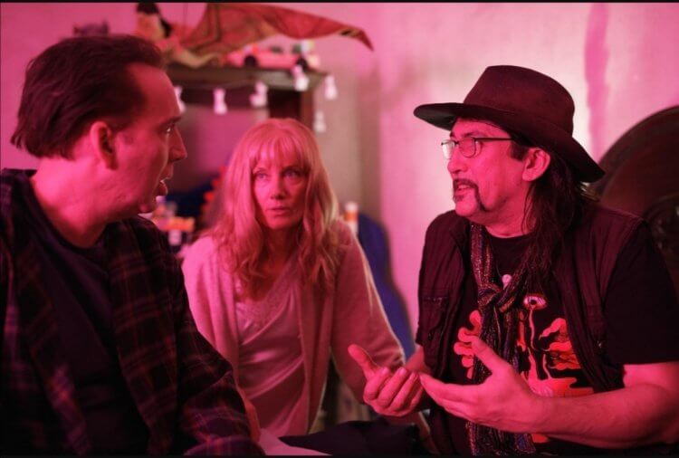 《星之彩》拍攝中的尼可拉斯凱吉(左)與導演(右)。