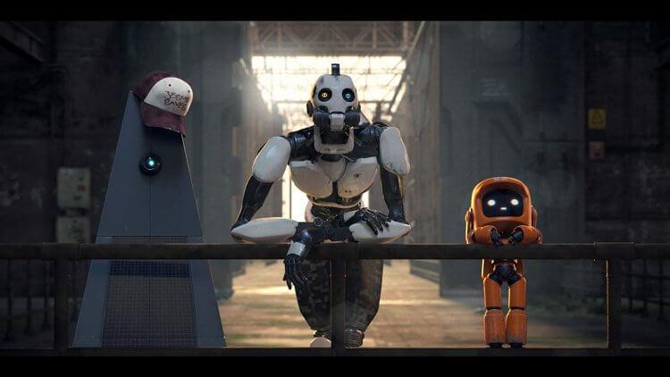 《愛 x 死 x 機器人》(LOVE, DEATH, AND ROBOTS) 第一季中的「三個機器人」,殘存於人類自取滅亡之後的世界,三個各具擬人性格的機器人展開一場未知的冒險。