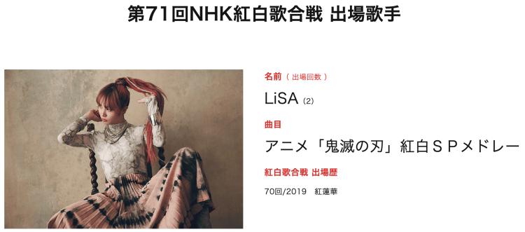 NHK 紅白歌合戰 LiSA 動畫鬼滅組曲