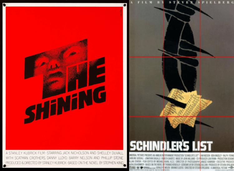 左邊為索爾的《鬼店》原始海報設計,右為未被採用的《辛德勒的名單》海報。