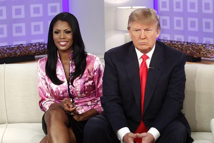 美國總統 川普 及 實境秀節目主持人 歐瑪蘿莎曼尼高特紐曼 。