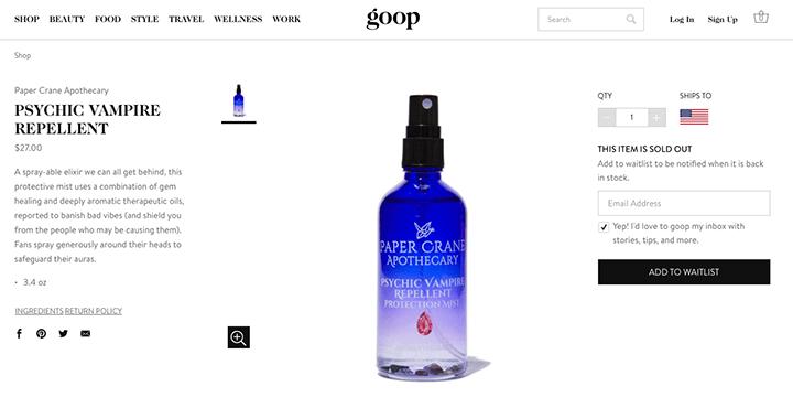 葛妮絲派特洛 goop 網站販售的 吸血鬼防護噴霧 。
