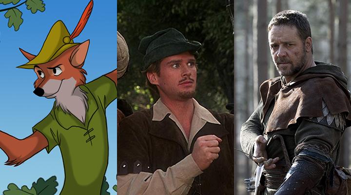 左:1973 年 迪士尼動畫 《 羅賓漢 》/ 中:1993 年《 羅賓漢也瘋狂 》/ 右:2010 年《 羅賓漢 》。