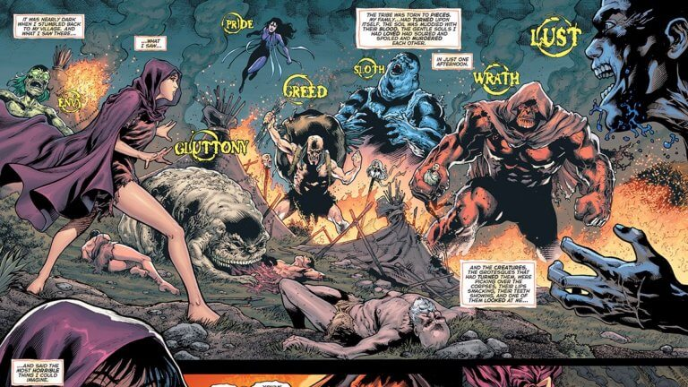 DC 漫畫中的超級反派「七宗罪」:驕傲、忌妒、貪婪、暴怒、怠惰、貪食以及色慾。